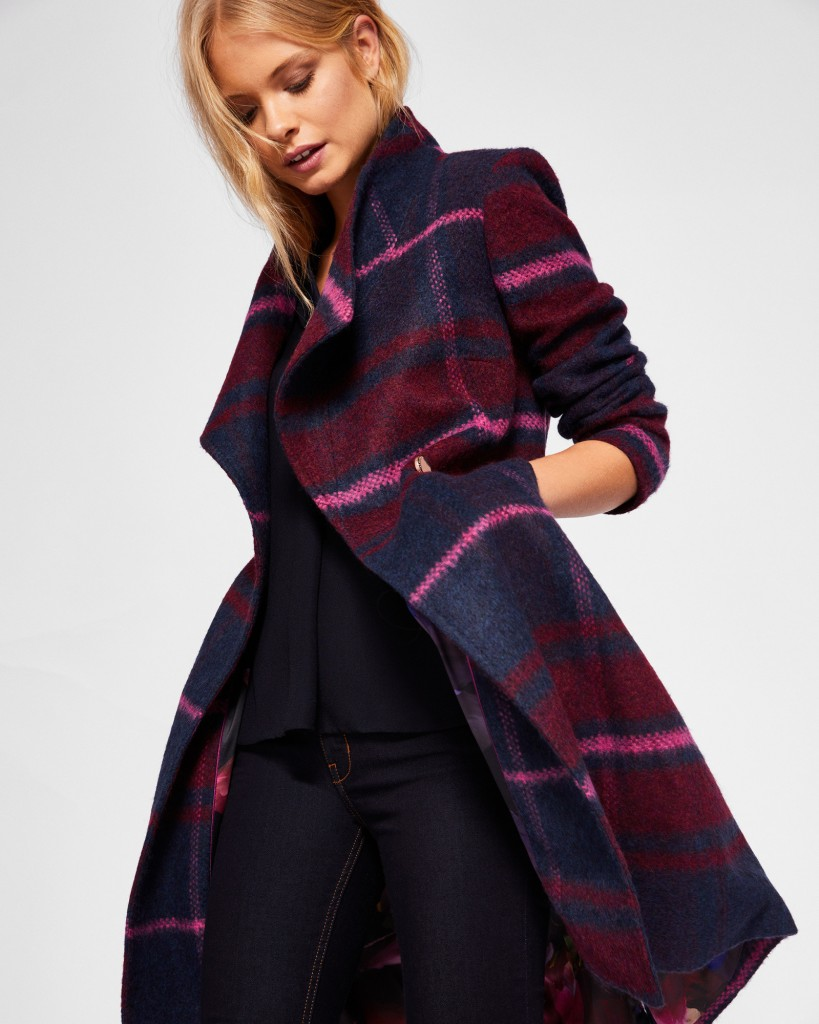 FREDYE Check long wrap coat by Ted Baker | Winter Coats 2018