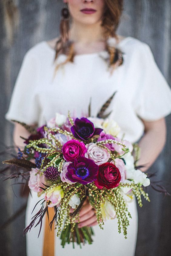 magenta wedding flowers