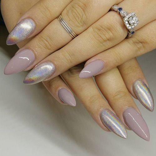 nude and chrome nails