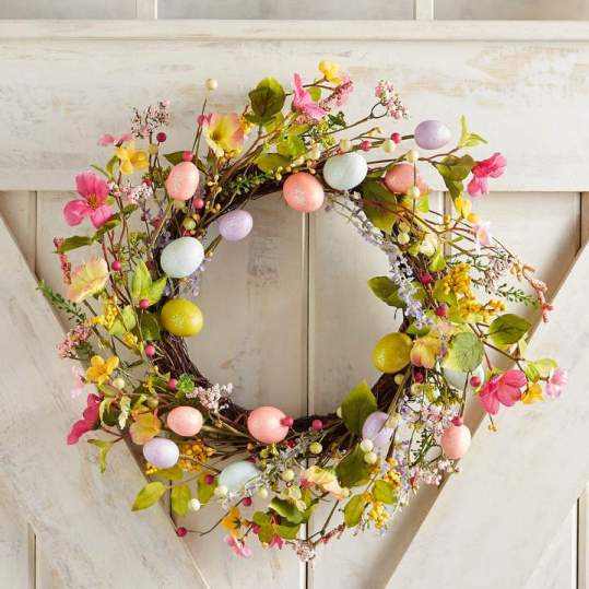 """Glittered Easter Egg 18"""" Wreath"""