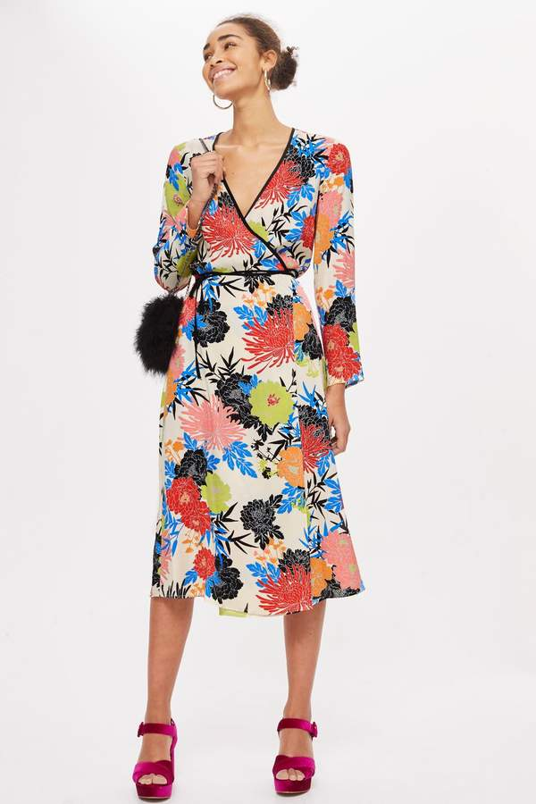 Topshop Floral Print Wrap Dress