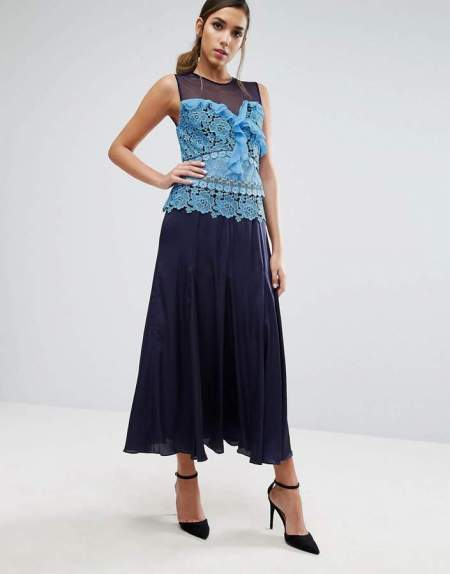 what to wear to a wedding in spring Three Floor Pleated Midi Dress With Contrast Lace Detail