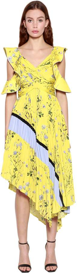 Self-Portrait Asymmetrical Floral Printed Midi Dress