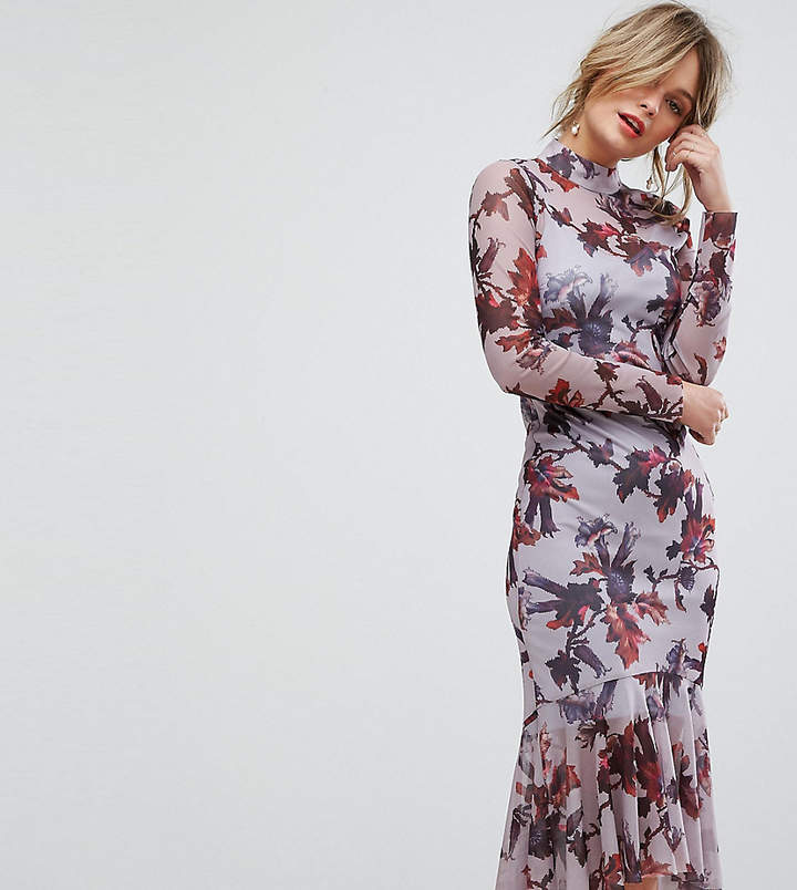 Hope & Ivy Long Sleeve Floral Printed Mesh Dress
